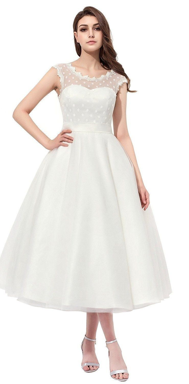 20 Gorgeous Wedding Dresses You Won T Believe You Can Get On Amazon 1950s Wedding Dress Tea Length Tea Length Wedding Dress Short Lace Wedding Dress