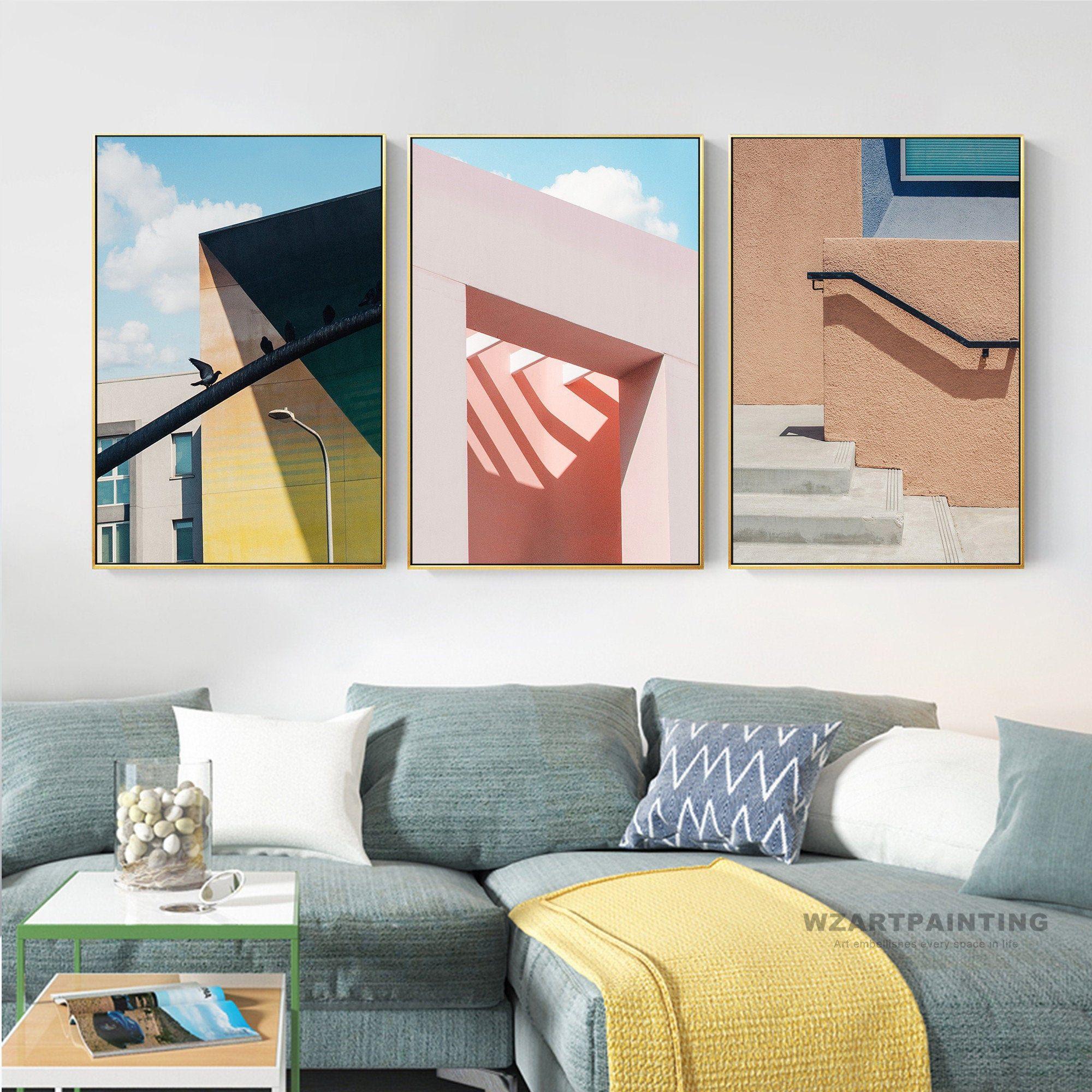 Framed wall art set of 3 prints modern nordic style