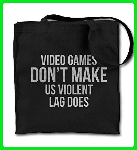 Video Games Don't Make Us Violent, Lag Does Funny Black Canvas Tote Bag, Cloth Shopping Shoulder Bag - Shoulder bags (*Amazon Partner-Link)