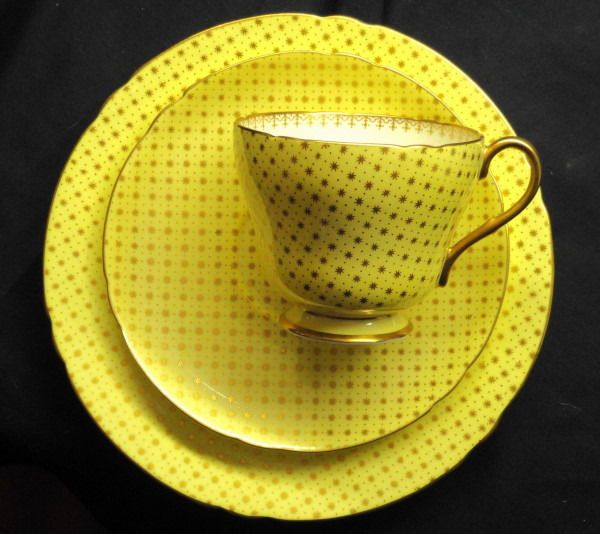 Shelley polka dots gold star tea cup and saucer trio wow for Gold polka dot china