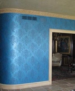 For a girly dressing riom! Foliate Damask stencil on walls by artist Julie Berry with mixture of Peacock Blue & Cobalt Blue Lusterstone.