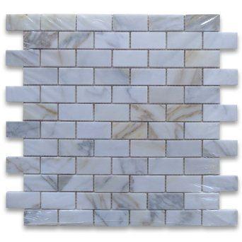 Calacatta Gold Italian Calcutta Marble Subway Brick Mosaic Tile 1 x 2 Polished - Amazon.com