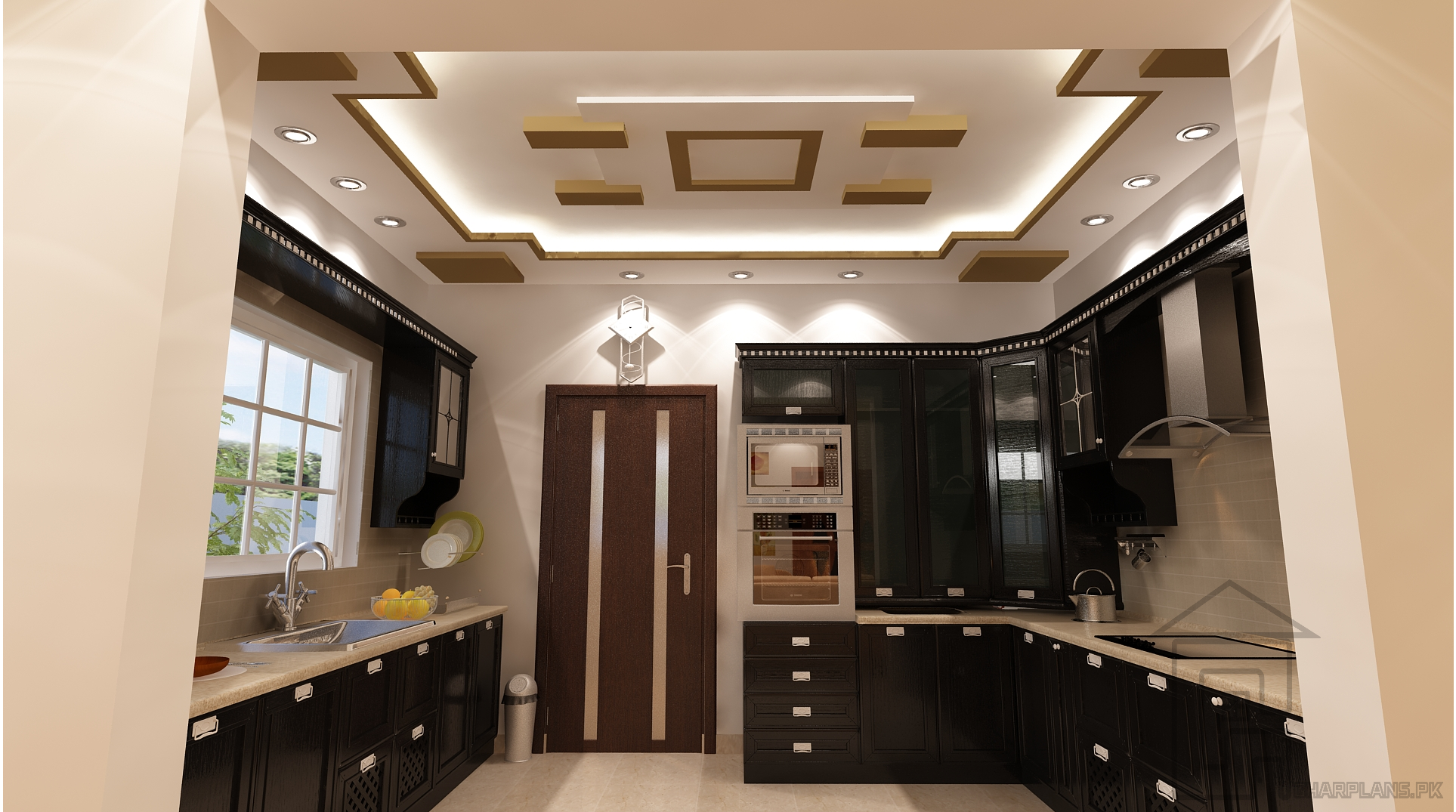 Pakistani Kitchen Design With False Ceiling Design And Most Of The