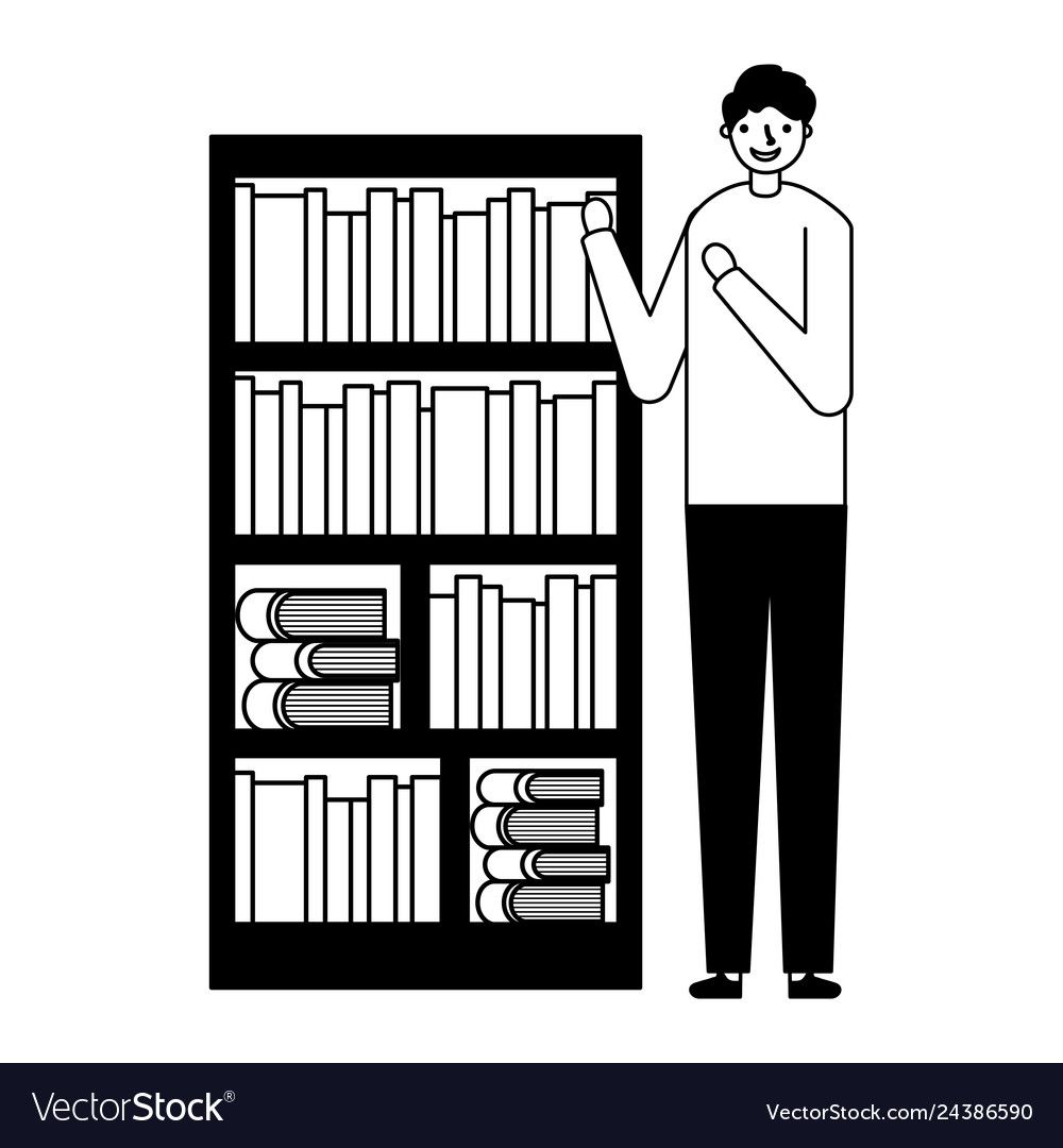 Bookcase Cartoon Black And White Black And White Books White Books Bookcase