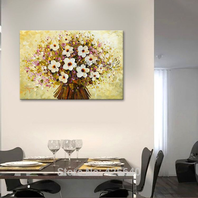 Find more painting calligraphy information about banner hand banner hand painted palette knife white flowers oil painting wall art canvas picture modern abstract home decor living room 3 mightylinksfo