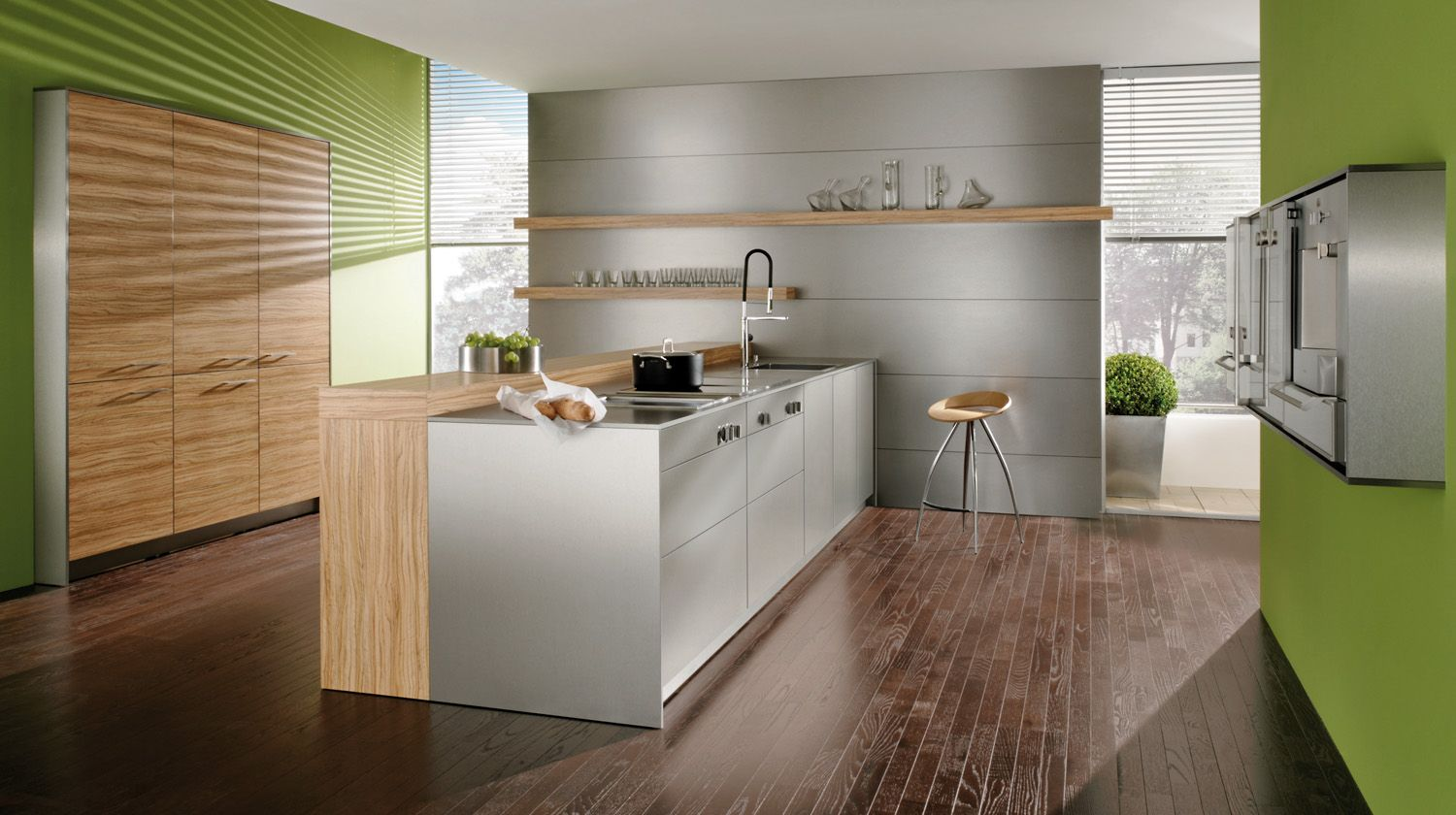 Milano Nuovo Olive Wood Laminate Decor And Stainless Laminate  # Nuovo Muebles Cocina
