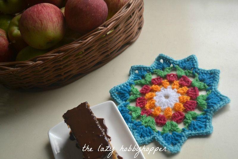 Starry flower coaster ~ free pattern   patrones   Pinterest ...