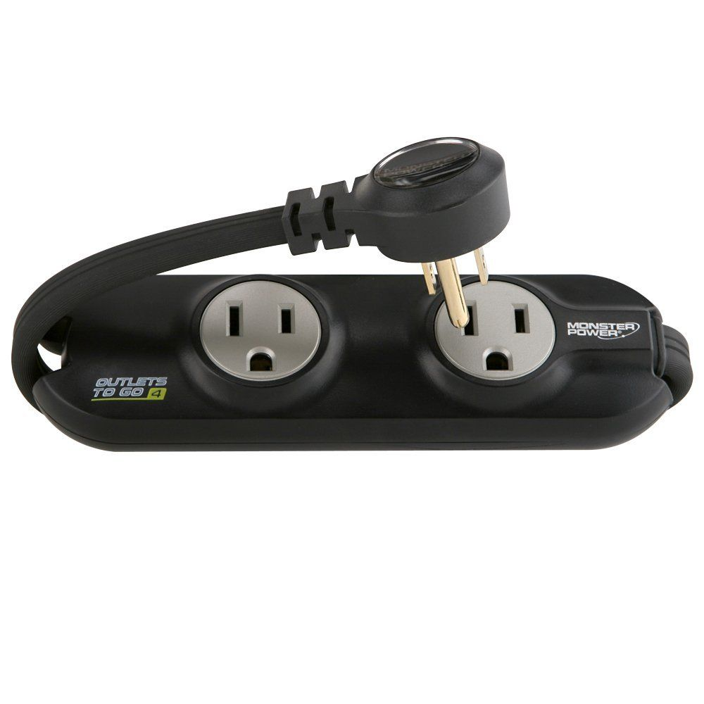 Amazon Com Monster Mp Otg400 Bk Outlets To Go Power Strip 4 Ac Outlets Black Electronics Power Strip Computer Accessories