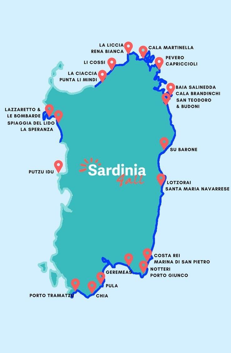 Karte Sardinien Strände.Kinderfreundliche Strände Auf Sardinien Erfahren Sie Wo Das Wasser