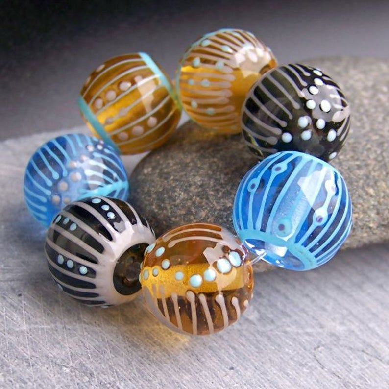 MruMru Handmade Lampwork Glass Bead  set Sra.