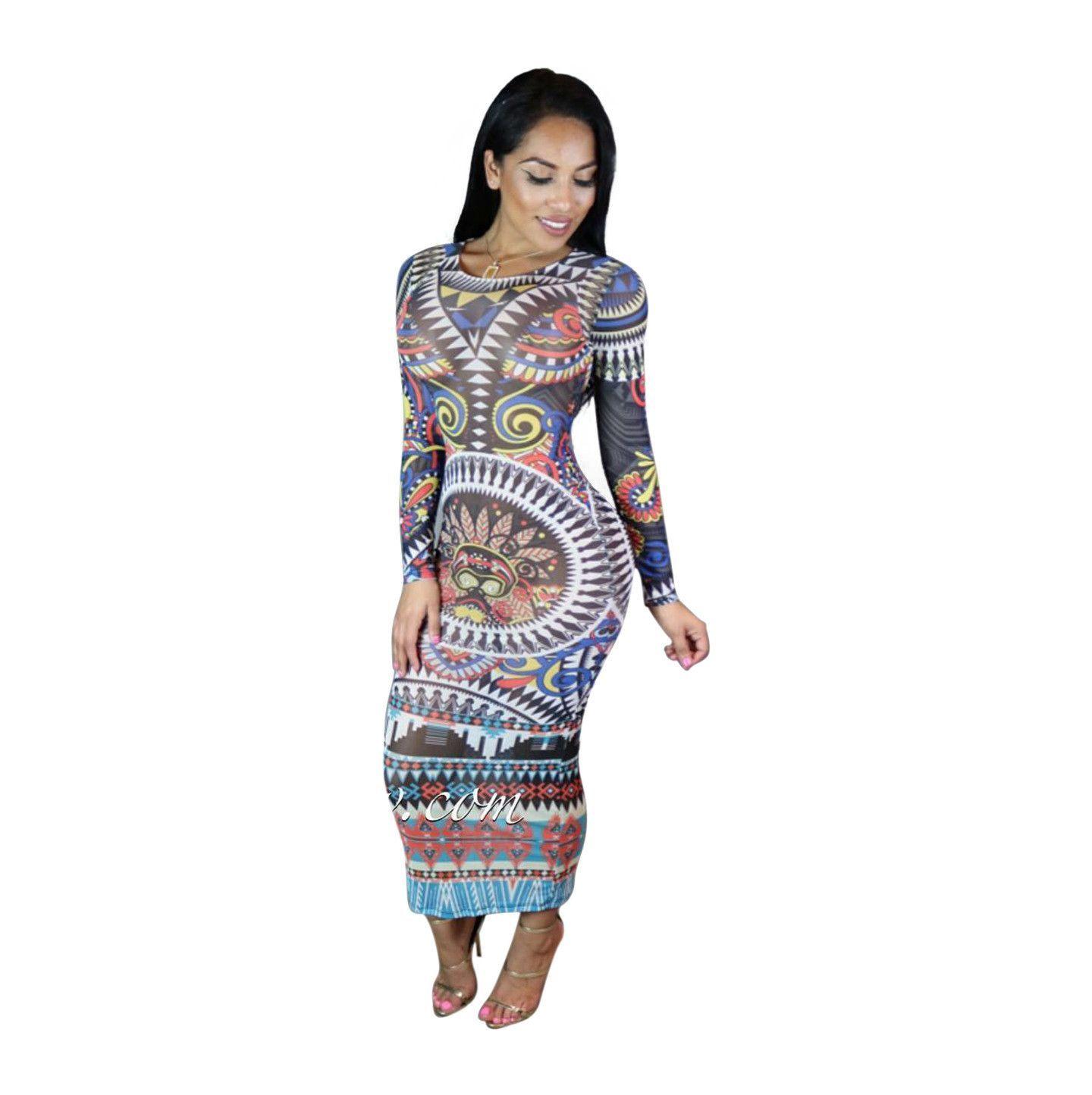 African Tribal Print Long Sleeve Bodycon Dress Tribal Print Maxi Dress Long Sleeve Print Dress Vintage Long Dress [ 1445 x 1440 Pixel ]