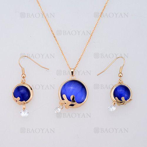 juego collar y aretes de piedra azul en acero dorado inoxidable -SSNEG404032