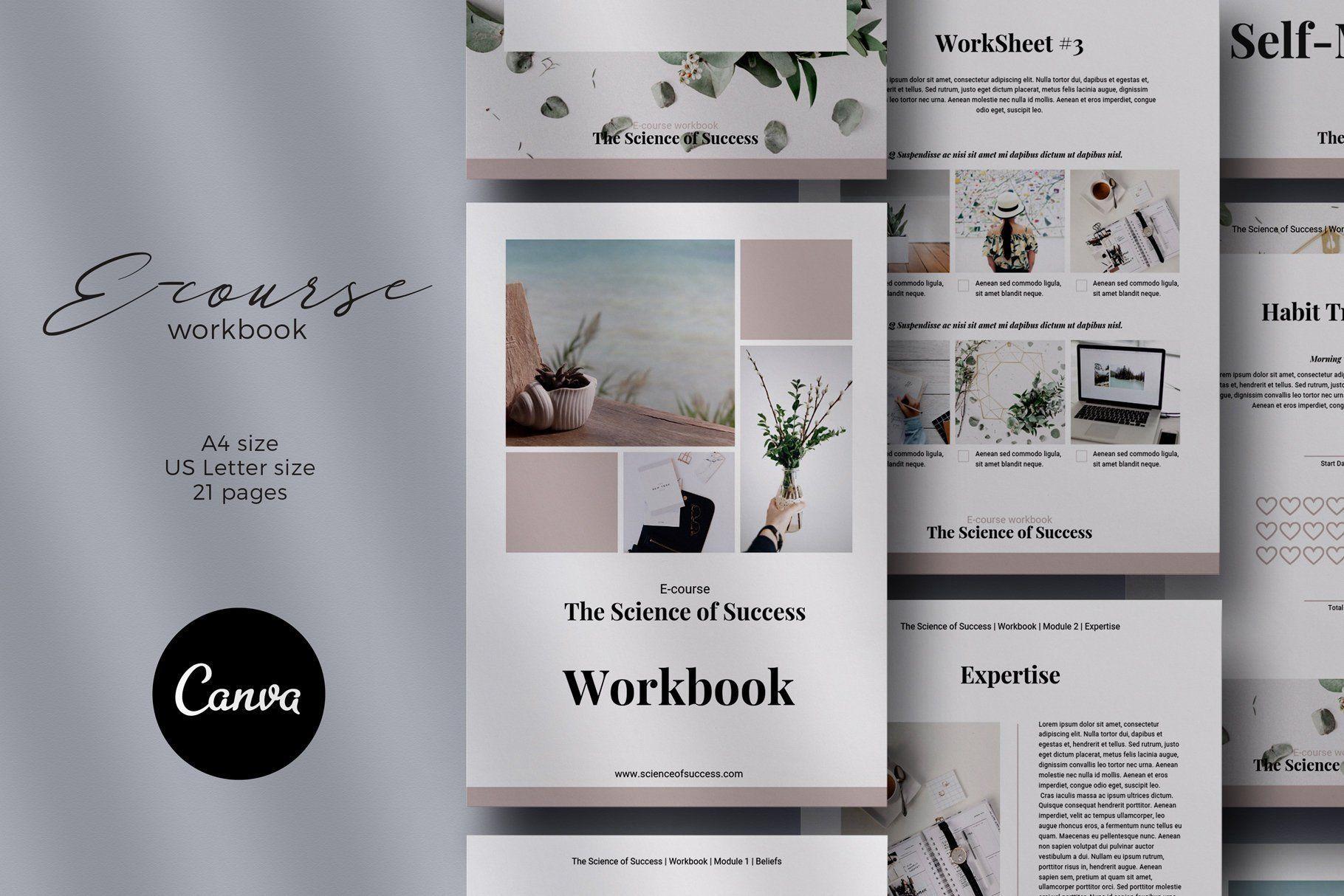Workbook Template Canva Template Course Workbook