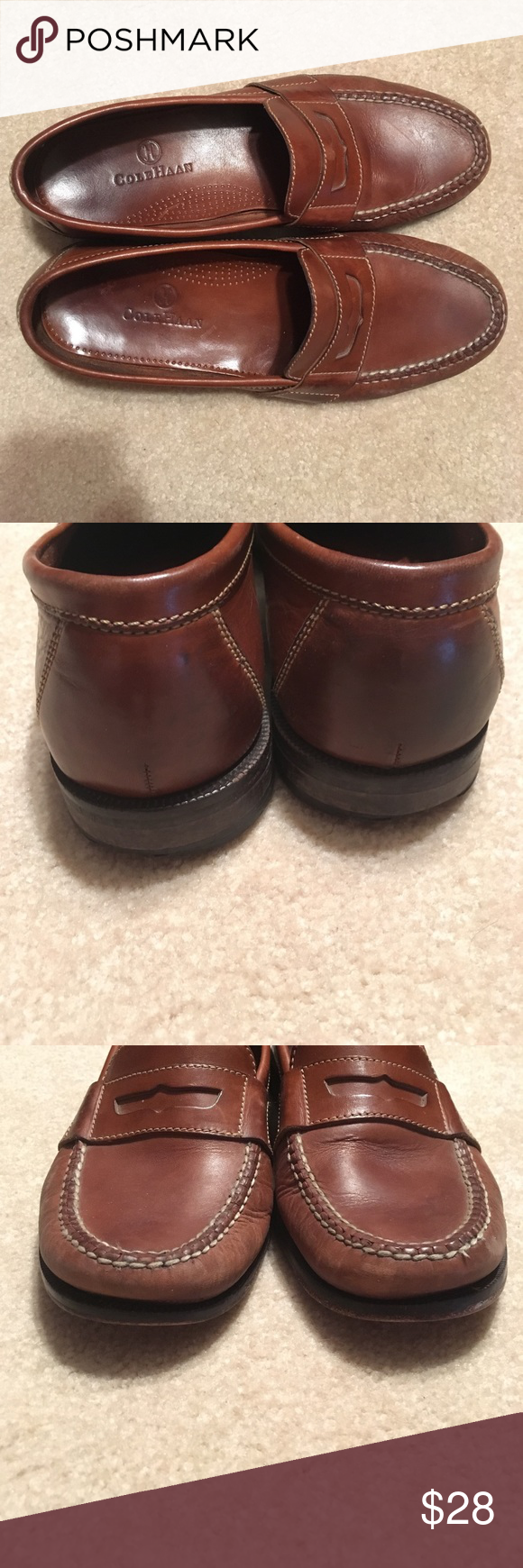 Cole Haan Men's Tan Leather Penny Loafer This is a pre-owned traditional penny loafer in good condition. Fully  leather upper and footbed. These have some wear on the heels and footbed. There is minor scuffing on toes. Super comfortable and timeless. Make an offer! Cole Haan Shoes Loafers & Slip-Ons