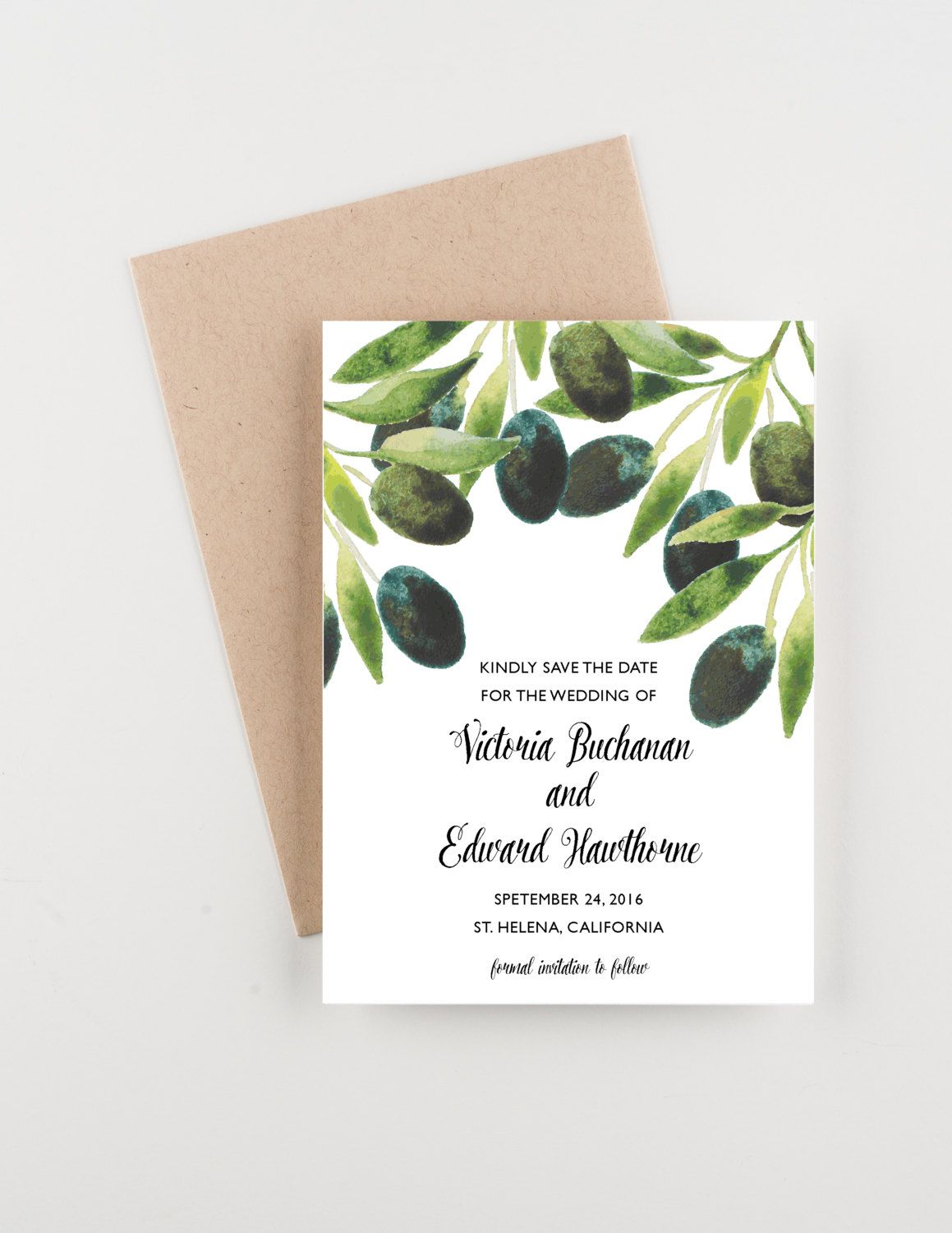 Watercolor Olive Branch Save The Date, Wedding Announcement ...
