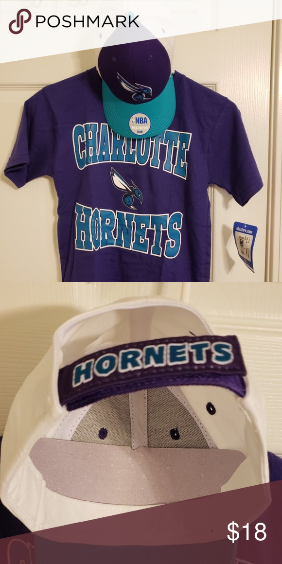 Charlotte Hornets Youth (Shirt   Hat bundle) NBA Child s NBA Charlotte  Hornets basketball Purple T-shirt and hat set. Size is a small (8)    Brand  New    ... 3e7799fcc