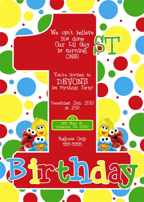 Cute Design Wonder If A Picture Could Be Incorporated Into It And Words Changed Cristina Castro Baby Sesame Street Invitation By Dpdesigns2012 On Etsy
