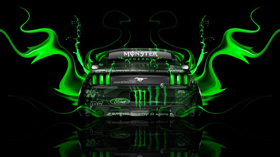 Monster Energy Ford Mustang Muscle Back Fire Acid Car 2014
