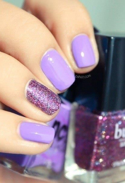 Mauve and glitter Nail Art Designs #nails www.finditforweddings.com