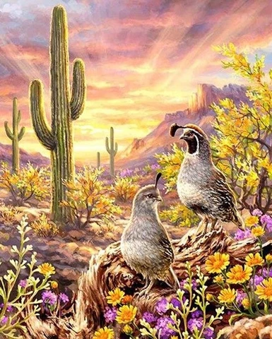 5D Diamond Painting Quail and Cactus Desert Kit