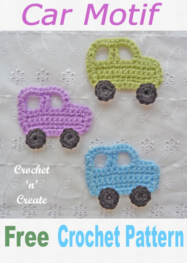 Sweet little car applique a free crochet pattern for use with children's projects. CLICK and scroll down the page for the pattern. | #crochetapplique #crochetmotif #crochettoys #crochetncreate #crochet #howto #crochetpattern #freecrochetpattern #easypattern #freepattern #forbeginners #diy #crafts #crochetaddict #followforcrochet #crochetapplique