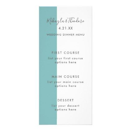 Modern Script Wedding Menu Card in Blue - script gifts template - formal dinner menu template