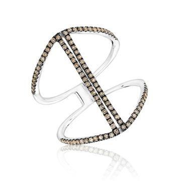 Brown Diamond Double Line Geometric Ring 3/8ctw - Size 7 - Item 19473719 | REEDS Jewelers
