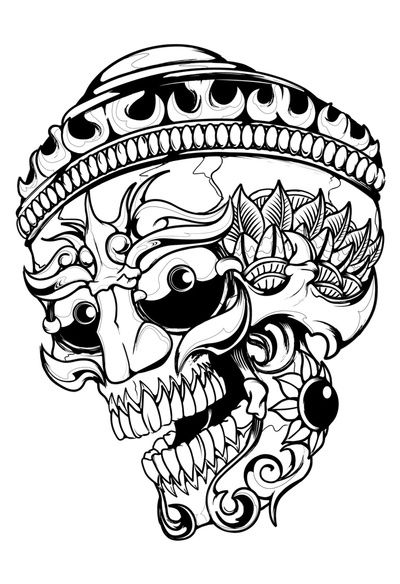 Tibetan Skull Art Skull Art Japanese Tattoo Art