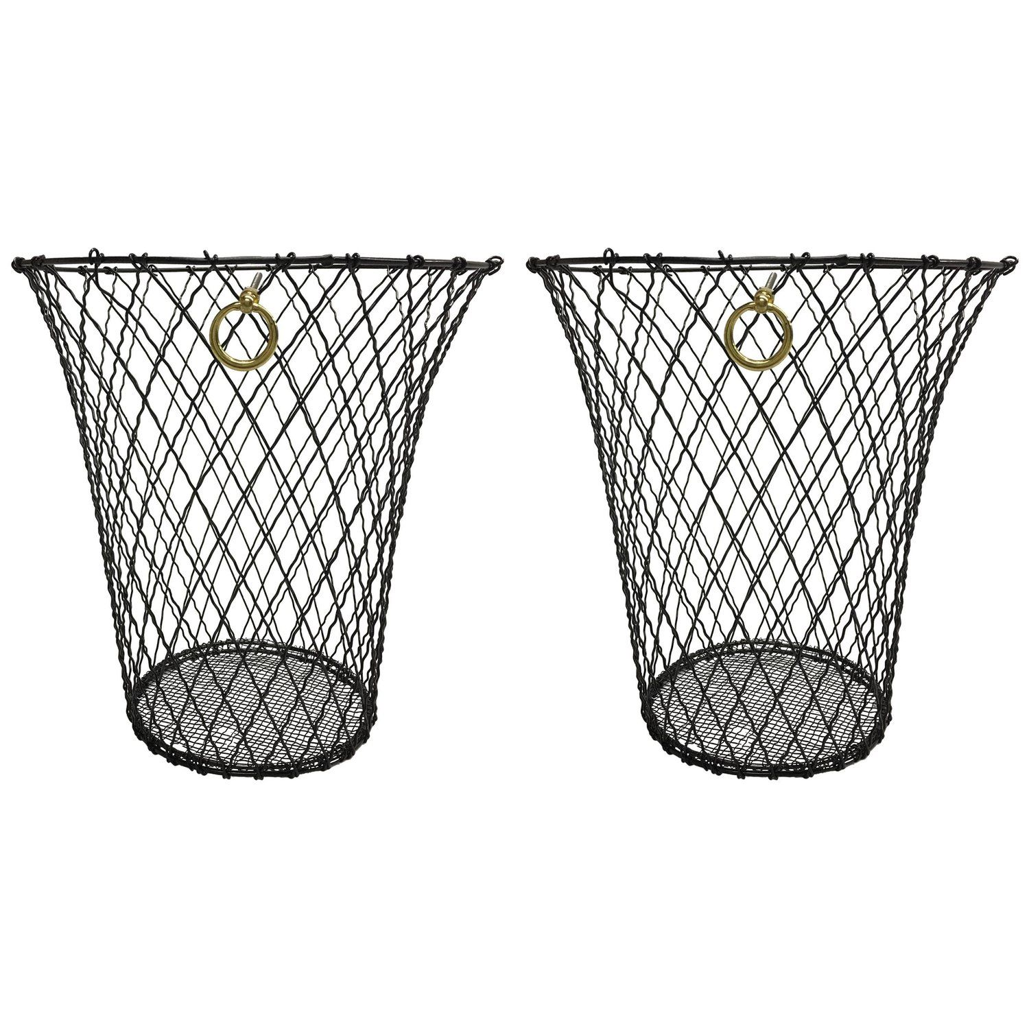 Two French Mid-Century Modern Wire Waste Baskets, Jacques Adnet ...