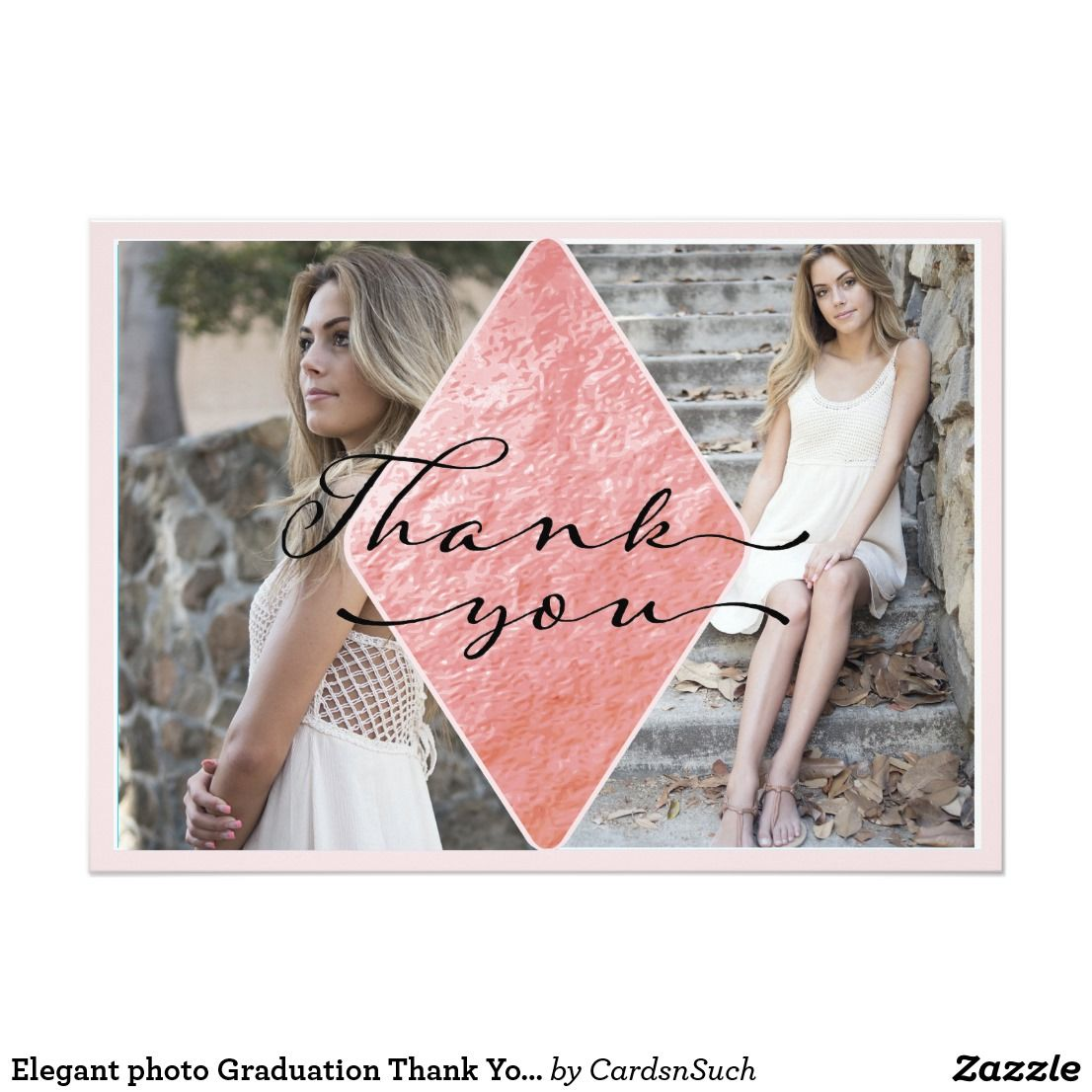 Elegant photo graduation thank you card