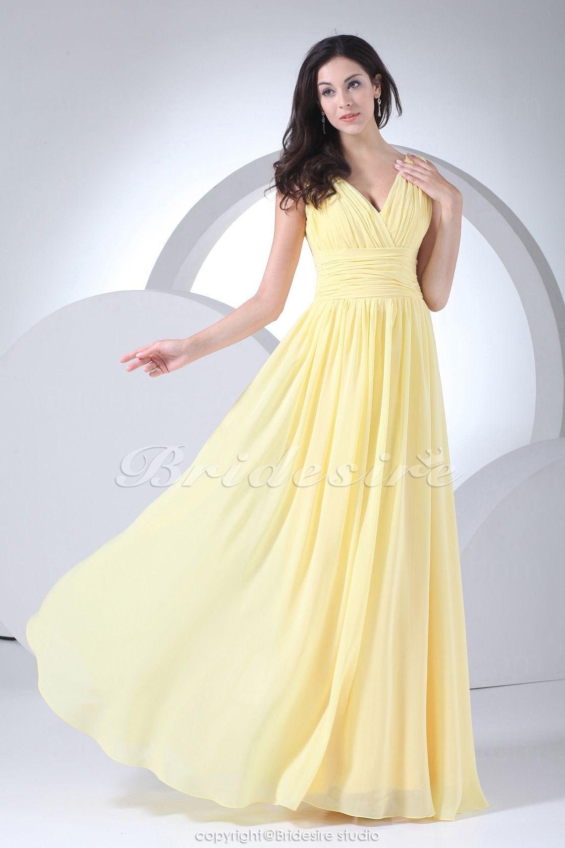Bridesire - Sheath/Column V-neck Floor-length Sleeveless Chiffon ...