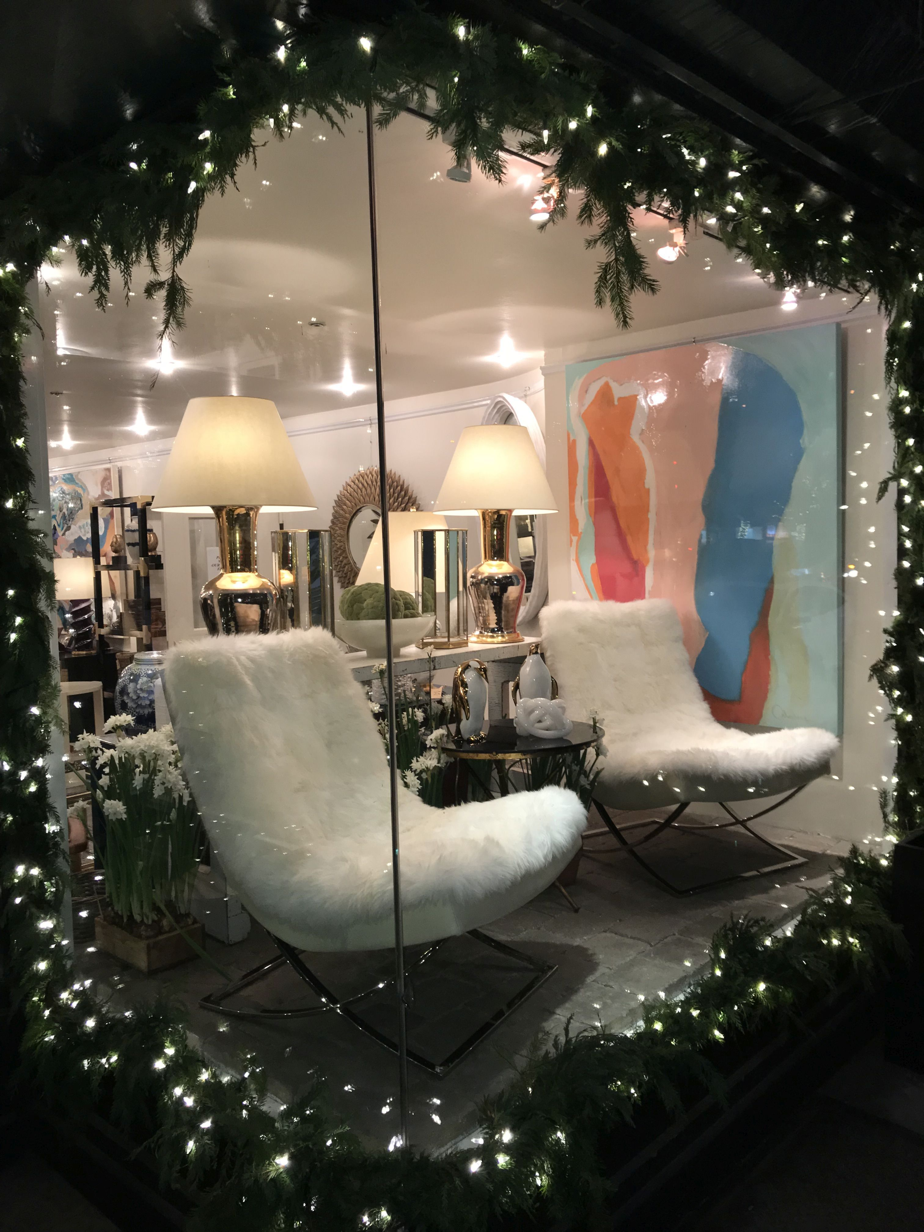 All of the lights highlighting this Mecox NYC #sheepskin #chairs ...