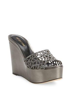 1b05ae208 SERGIO ROSSI Tresor Swarovski Crystal   Suede Wedge Slides.  sergiorossi   shoes  slides
