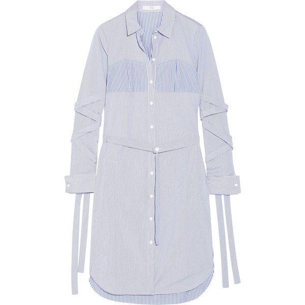 Tibi Striped cotton-poplin dress ($590) ❤ liked on Polyvore featuring dresses, blue striped dress, loose dresses, blue bustier, shirt dress and striped shirt dress