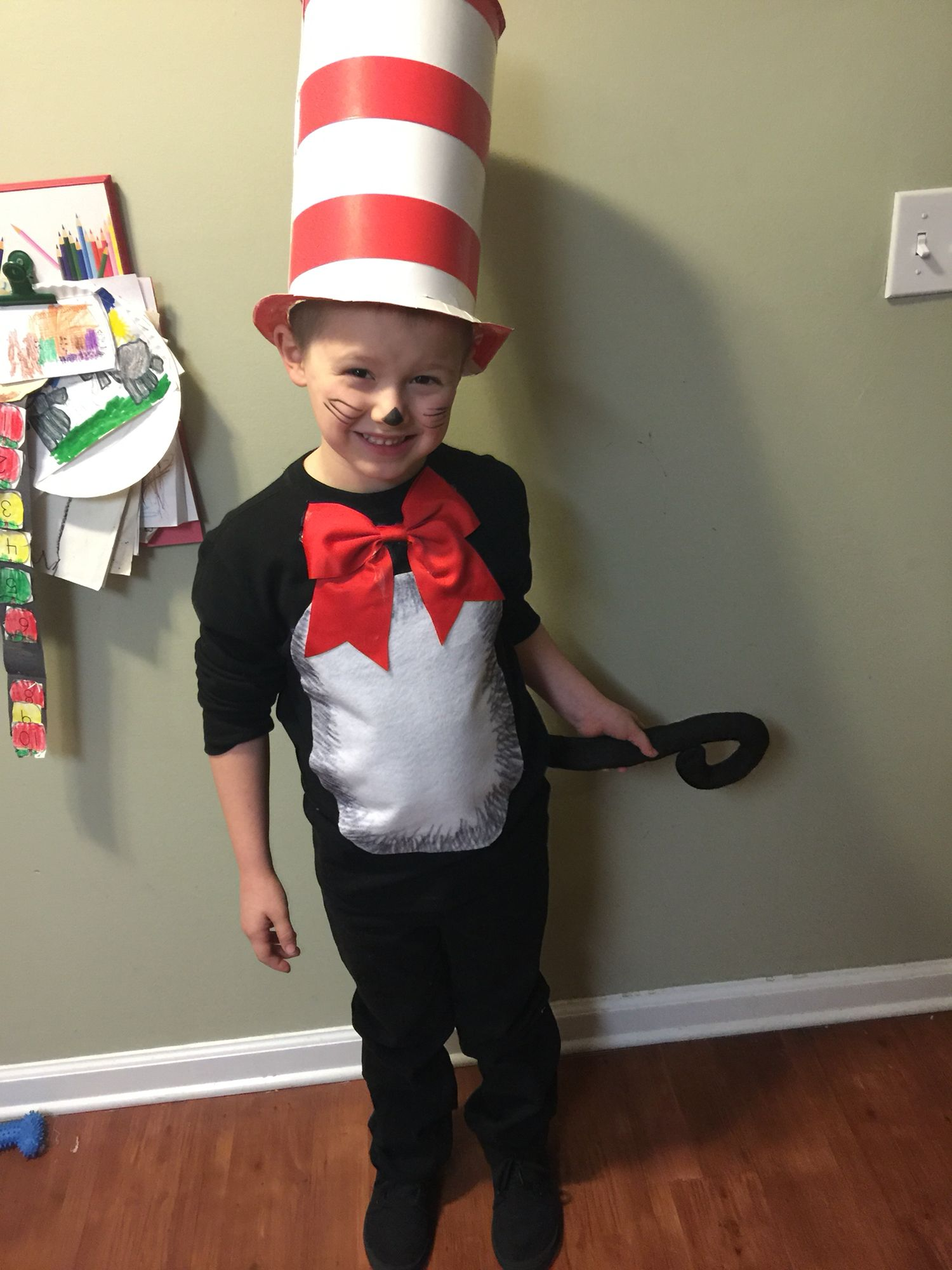 Diy Cat In The Hat Costume Kids Costumes Boys Dr Seuss Costumes Childrens Costumes Diy