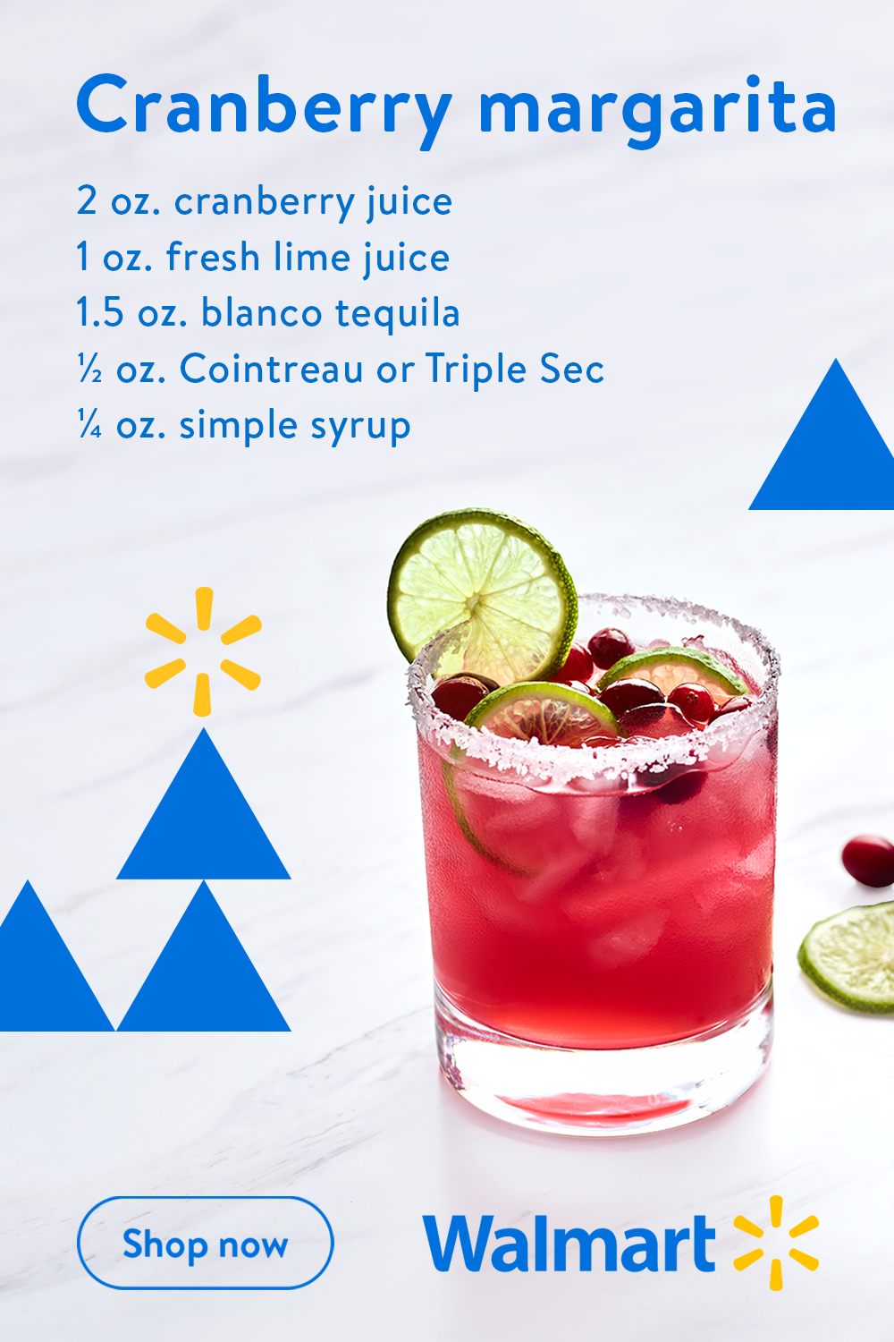 This refreshing cranberry margarita recipe from Walmart is equal parts easy and delicious. So grab a blanket and cozy up cranberry style this season.