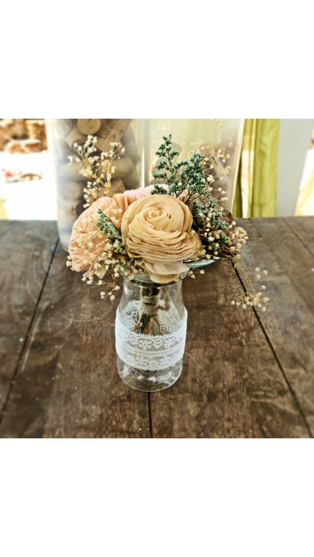 Wedding centerpiece lace milk bottle my small