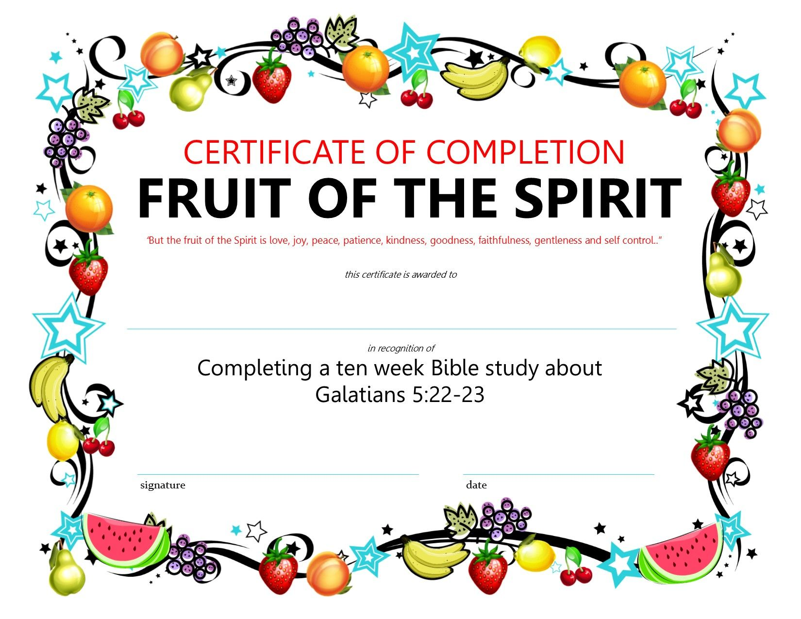 Certificate for completing the fruit of the spirit lesson certificate for completing the fruit of the spirit lesson yadclub Choice Image
