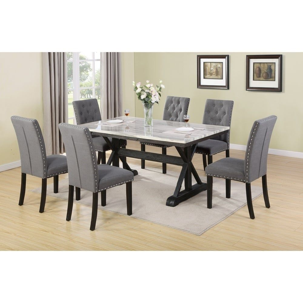 Best Quality Furniture Faux Marble Table Top 9 Piece Dining Set ...