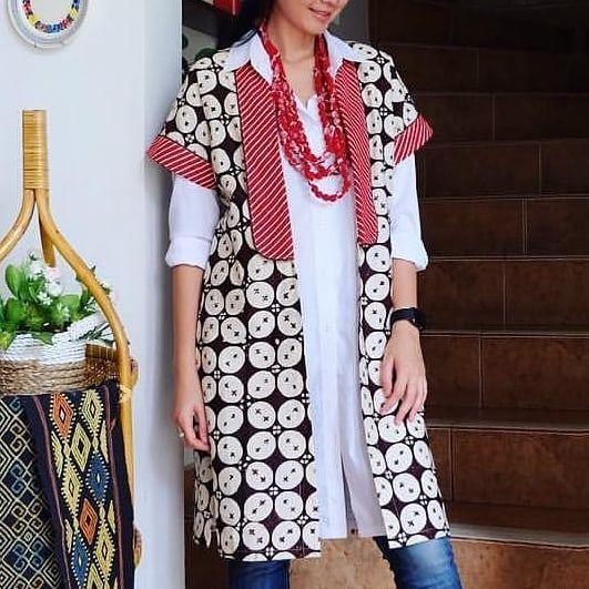 Baju Batik Lengan Panjang Vector: Outer Batik Nif & Kemeja Nnf LD>S:88cm M:92cm L:94cm XL