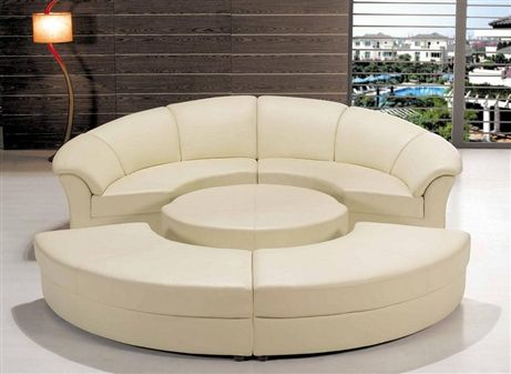 Modern Circle Sectional Sofa Set With Table White Tos Lf 6722 Wh Round Sofa Round Couch Round Sofa Chair