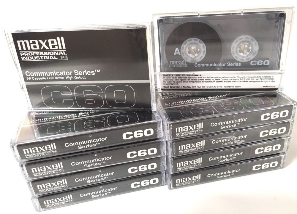 Maxell Professional Industrial Cassette Tapes Communicator Series C60 Low Noise//