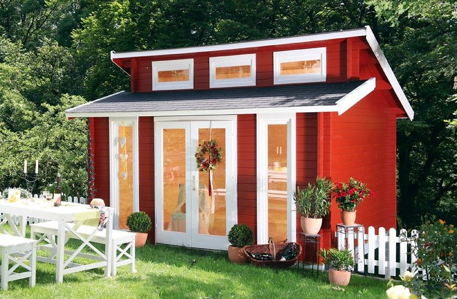 Gartenhaus Blockbohlenhaus Nina 28B Terrassenhaus 28 mm