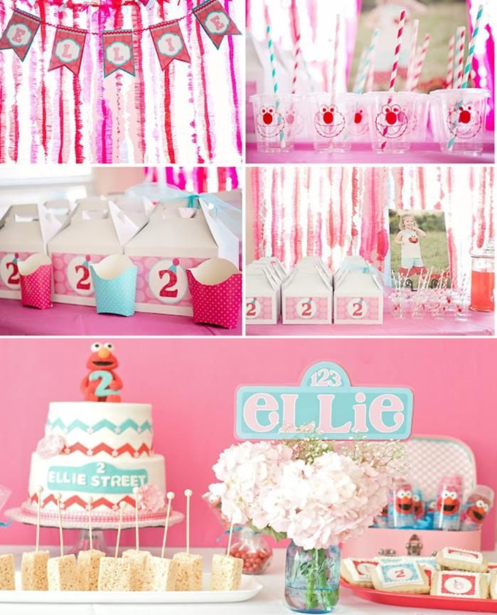 ADORABLE Pink ELMO Themed Birthday Party For Girls Via