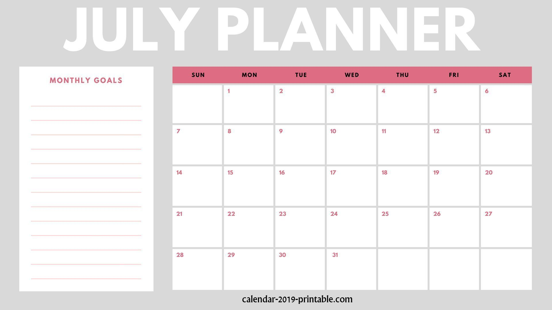 Free July Calendar 2019 Printable Blank Templates