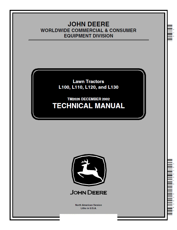 Repair manual john deere l100 l110 l120 l130 lawn tractors technical repair manual john deere l100 l110 l120 l130 lawn tractors technical manual pdf tm2026 fandeluxe Images
