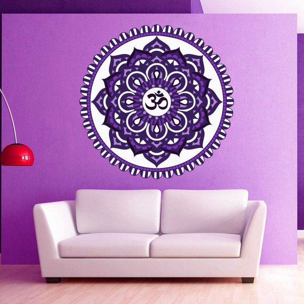 Lamp light wall art decor removable mural vinyl decal sticker purple - Amazon Com Wall Decal Mandala Multicolored Oum Om Yoga Studio Sign Indian Ornament Murals