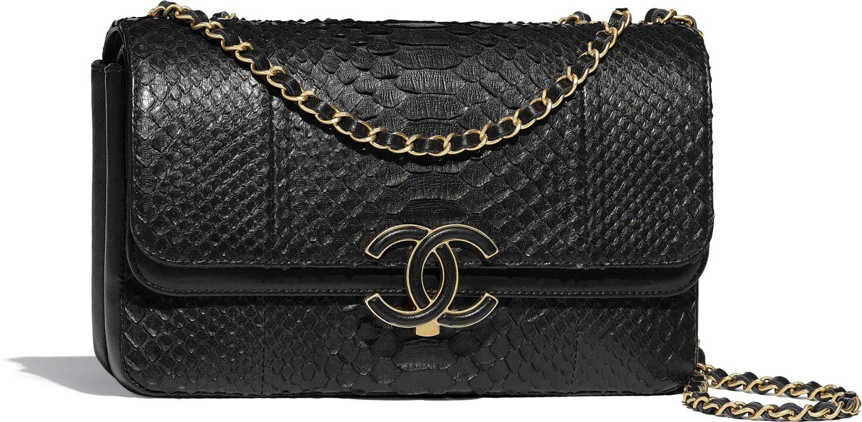 967f4cc60 Bolso con solapa, pitón, piel de cordero y metal dorado, negro - CHANEL