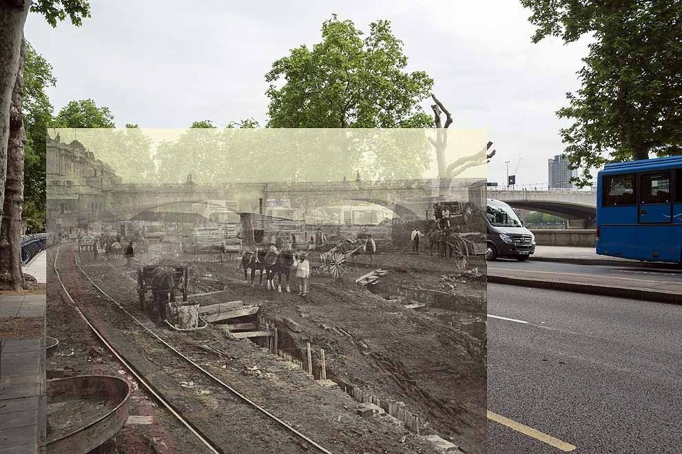 ◉◉ Construction site to the west of Waterloo Bridge, 1866-1870. | 18 Photos Of London's Past, Blended With Its Present