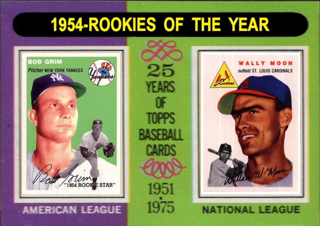 1975 topps 1954 rookies of the year baseball cards
